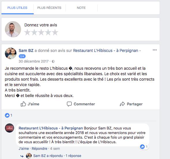 intégrer avis sur facebook