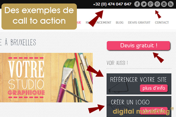 exemples de call to action page facebook