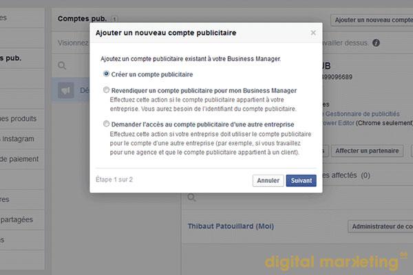 compte publicitaire facebook