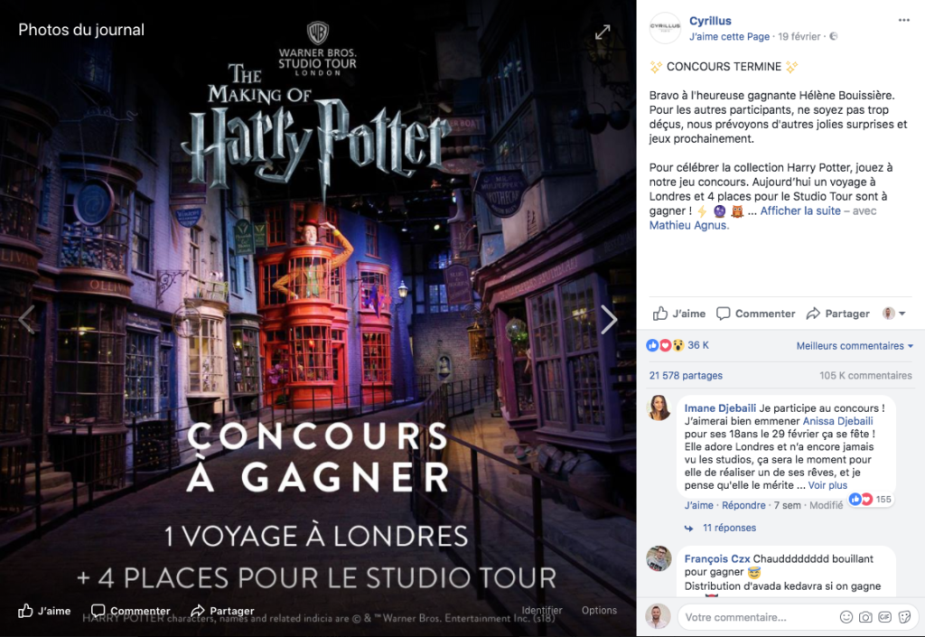 exemple publication facebook réussit