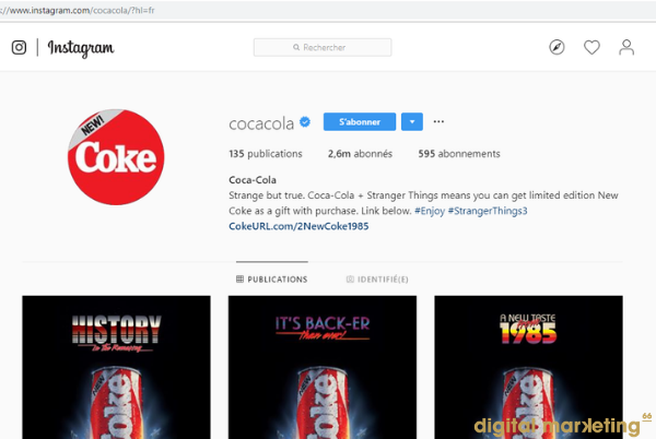 coca cola identité visuelle Instagram