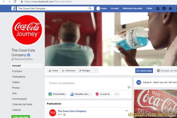 coca cola identité visuelle facebook